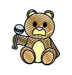 Doodle bear teddy cute toy with rattle vector