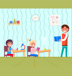 education in school chemistry lesson for kids vector image