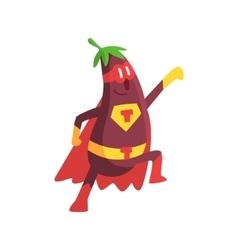 Eggplant In Superhero Costume Part Of Vegetables vector