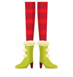 female christmas elf legs in striped stockings vector image