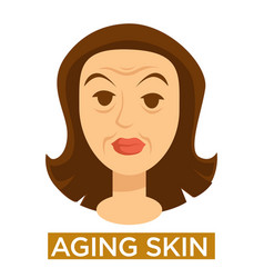 Female face close up with signs aging skin vector