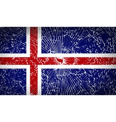 Flags Iceland with broken glass texture vector image