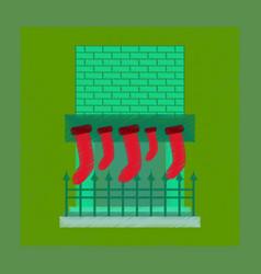 Flat shading style icon fireplace christmas socks vector