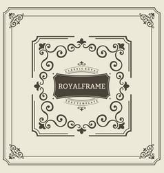 Frame template vintage ornament greeting vector
