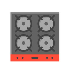 Gas stove stove top arial view icon vector