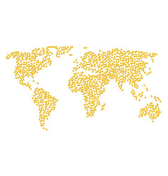 Global map pattern of wheat seed icons vector