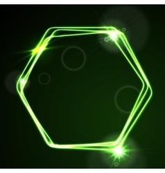 Glow green neon hexagon shiny design vector image