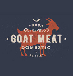 goat meat vintage logo retro print poster for vector image