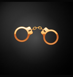 Gold handcuffs icon isolated on black background vector