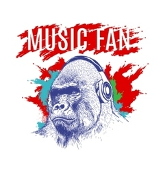 Gorilla listening to music on headphones vector image