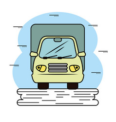 Green truck icon vector
