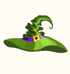 halloween green witch hat isolated on white vector image