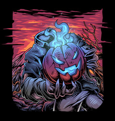 Halloween pumpkin esport logo vector
