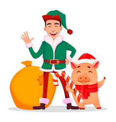 Handsome santa claus helper elf vector