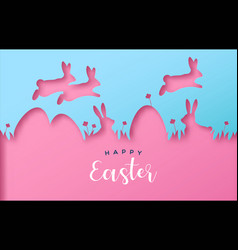 happy easter colorful paper cut rabbit egg card vector image