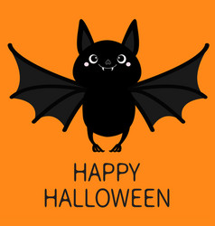 Happy halloween bat flying cute cartoon baby vector