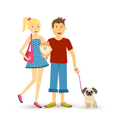 Happy young couple walking with pet dogs vector