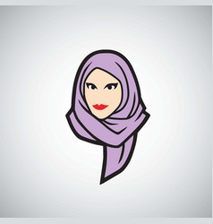 Hijab logo design template vector