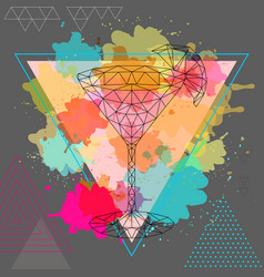 Hipster polygonal cocktail cosmopolitan vector