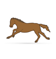 horse running cartoon graphic vector image