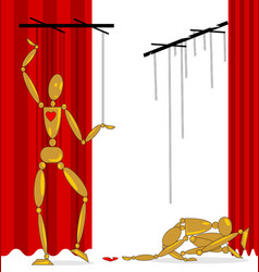 Image of two puppets with a broken heart vector