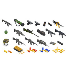 isometric army weapons collection vector image