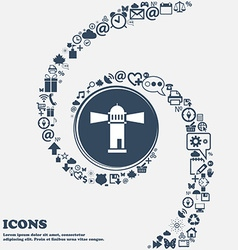 Lighthouse icon in the center Around the many vector