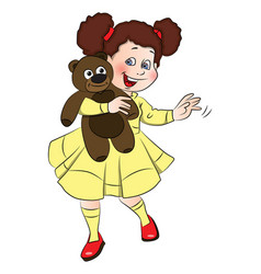 little girl holding teddy bear vector image