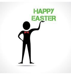 Man holding happy easter text vector image