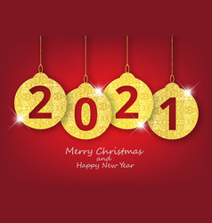 Merry christmas and happy new year hanging 2021 vector