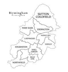 Modern city map - birmingham city of england with vector