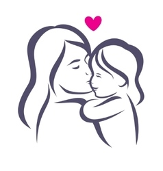 Mother and daughter stylized silhouette outlined vector