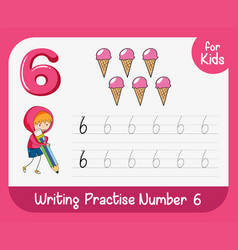 Number six tracing worksheets vector