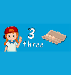 Number three tracing guide vector