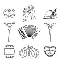 oktoberfest beer festival icons set in line art vector image