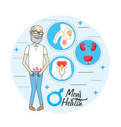 Old man with renal infection prevention vector