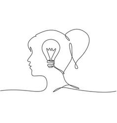 one single line drawing human woman head vector image