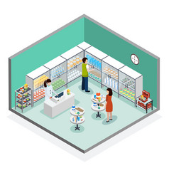 Pharmacy dispensary drugstore isometric vector