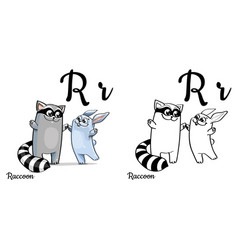 raccoon alphabet letter r coloring page vector image