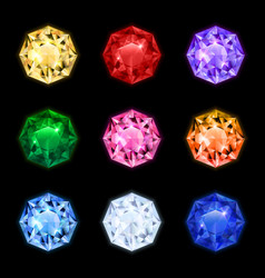Realistic diamond gemstone icon set vector
