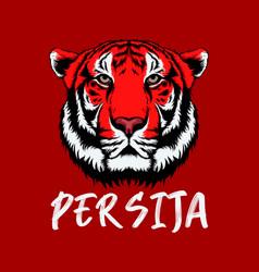 red tiger with persija teks persija is vector image