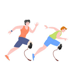Running male paralympic athletes with high-tech vector
