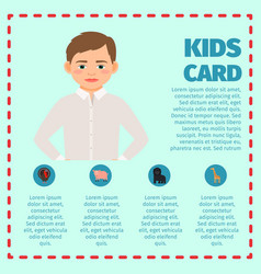 sad boy kids card infographic vector image