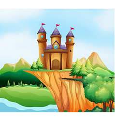 Scene with castle towers on the cliff vector