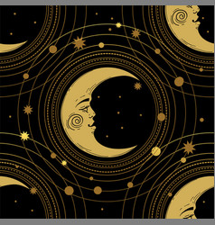 seamless pattern with a golden moon and a crescent vector image