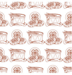 Seamless pattern with gold coins and drum vector