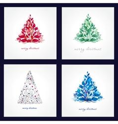 Set Christmas background with Christmas tree vector image