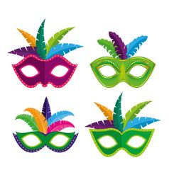 set decoration to mardi gras festival vector image