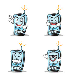 Set of phone character cartoon style vector