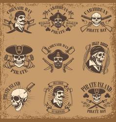 set pirate emblems on grunge background vector image
